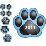 2145 - Blue Paws set of 8 with