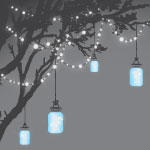 4317 - Blue Mason Jars hanging