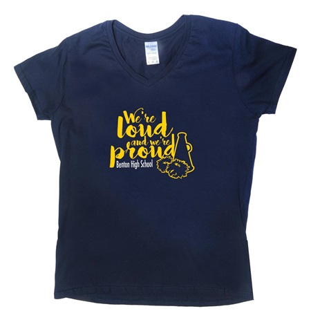 Ladies Screen Printed Cotton V-Neck T-Shirt