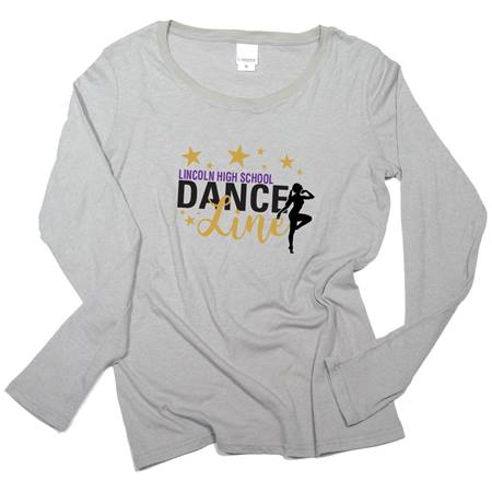 Women's Screen Printed Glitter Long Sleeve T-Shirt