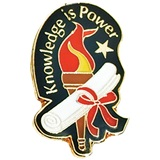 Academic Excellence Award Pin, Knowledge is Power