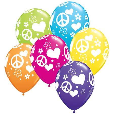 Peace and Love Latex Balloons