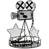 12 in. Black Movie Camera Wire Centerpiece