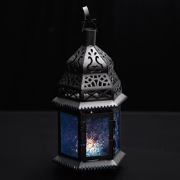 Hanging Moroccan Metal Lantern with Blue Embossed Glass