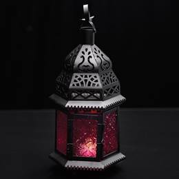 Hanging Moroccan Metal Lantern with Red Embossed Glass