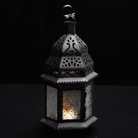 Hanging Moroccan Metal Lantern with Clear Embossed Glass