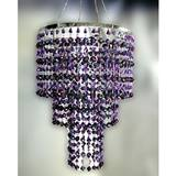 3-Tier Beaded Chandelier - Purple