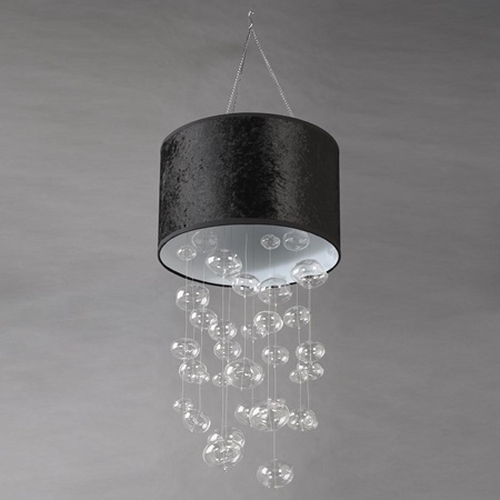 Glass Globe Chandelier with Black Shade