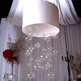 Glass Globe Chandelier with White Shade