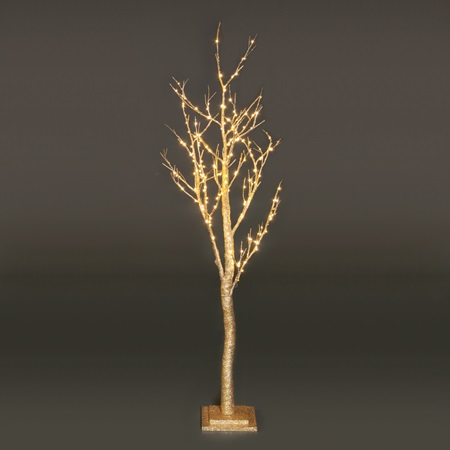 Large Lighted Gold Glitter Tree