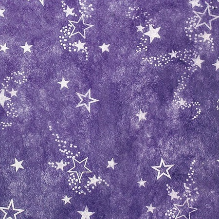 "Purple Gossamer with White Outlined Stars, 59"" wide"