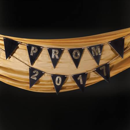 Black/Gold Prom 2017 Pennant