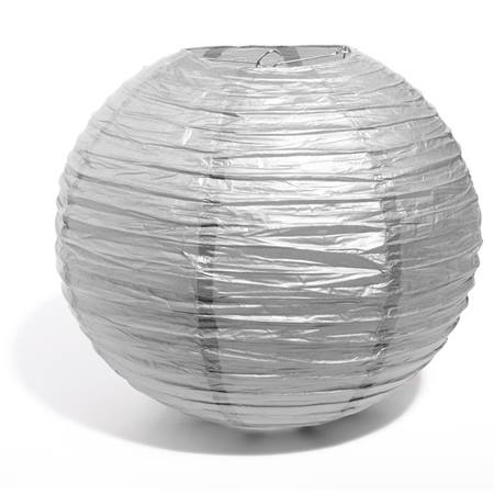 "14"" Round Paper Chinese Lantern - Silver"