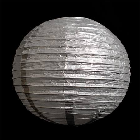 Silver Round Chinese Paper Lanterns - 8""