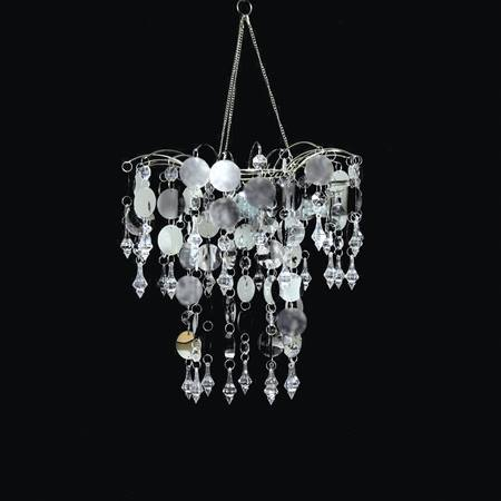 Silver Disc and Beaded Waterfall Chandelier