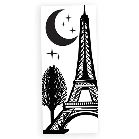Eiffel tower with tree white and black mural anderson 39 s for Eiffel tower wall mural black and white