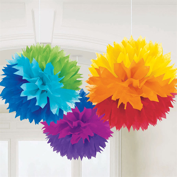 paper decorations. rainbow fluffy tissue paper decorations