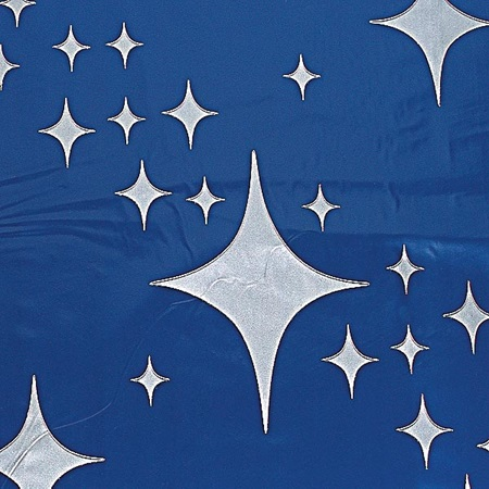 Silver 4-Point Stars on Blue Polyvinyl