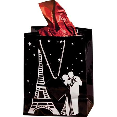 Theme Gift Bag – Silver Eiffel Tower & Couple on Black
