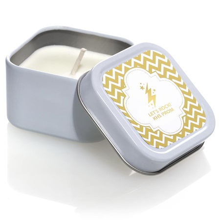 Metallic Foil Candle Tin - Gold Chevrons