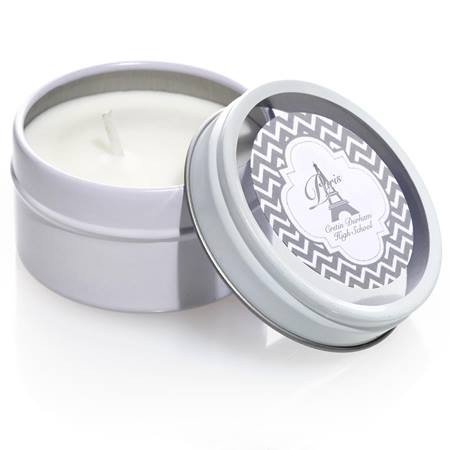 Round Candle Tin with Metallic Foil Label - Silver Chevrons