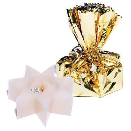 Wrapped Treasure Star Candle - Gold Wrap