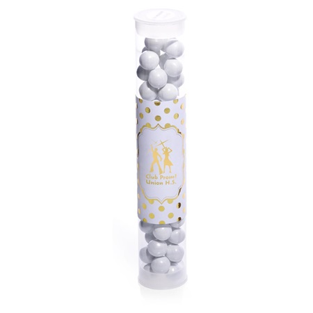 Metallic Foil Candy Tubes - Gold Dots