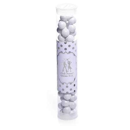 Candy Tube with Metallic Foil Label - Silver Dots