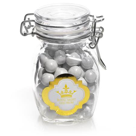 Metallic Foil Small Glass Jar with Swing Top Lid - Gold Frame
