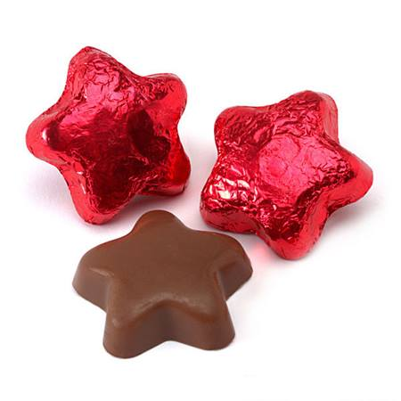 Foil-wrapped Milk Chocolate Stars - Red