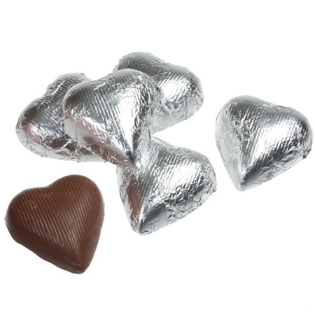 Silver Foil Chocolate Hearts
