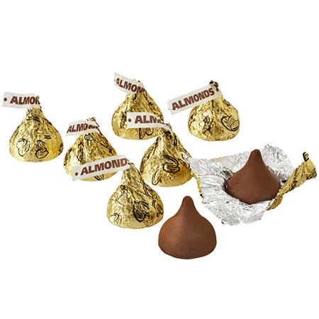 Hershey's Kisses® Gold Foil Wrapped Chocolate Candies With Almonds