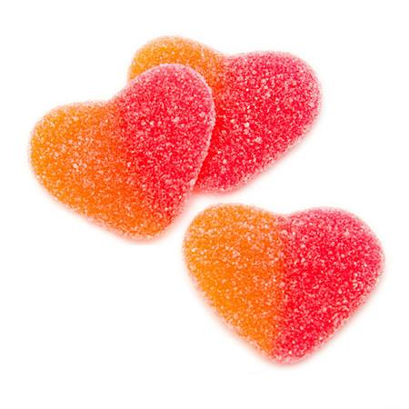 Sweet and Sour Gummy Hearts - Peach