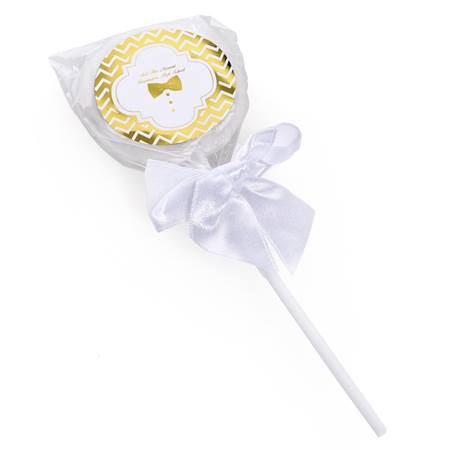 Metallic Foil Lollipop - Gold Chevrons