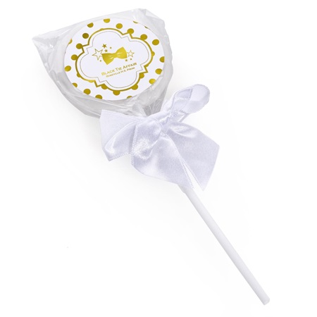 Metallic Foil Lollipop - Gold Dots