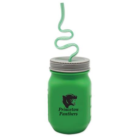 Mason Jar Tumbler With Crazy Straw