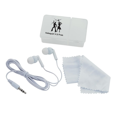 Earbuds and Microfiber Cleaning Cloth with Case
