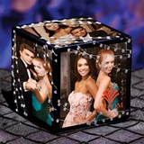 Silver Glitter Diamond Lights Photo Cube