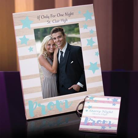 Full-color Frame and Key Chain Set - Teal Prom and Stars