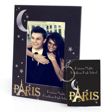 Full-color Frame and Key Chain Set - Moon Over Paris