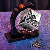 Ornate Filigree Photo Cube/Glitter Prom Key Chain Favor Set