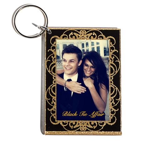 Golden Glitz Photo Key Chain