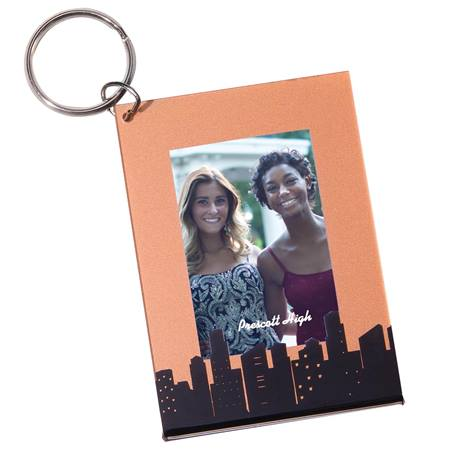 Rose Gold Cityscape Photo Keychain