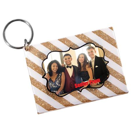 Sparkle Stripes Photo Key Chain