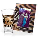 Full-color Frame and Tumbler Favor Set - Black and Gold Stripes