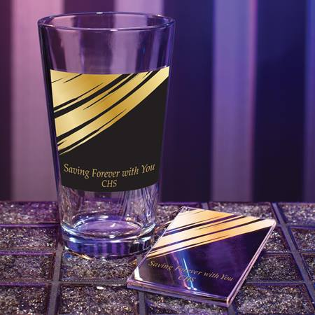 Full-color Tumbler and Key Chain Set - Golden Glam
