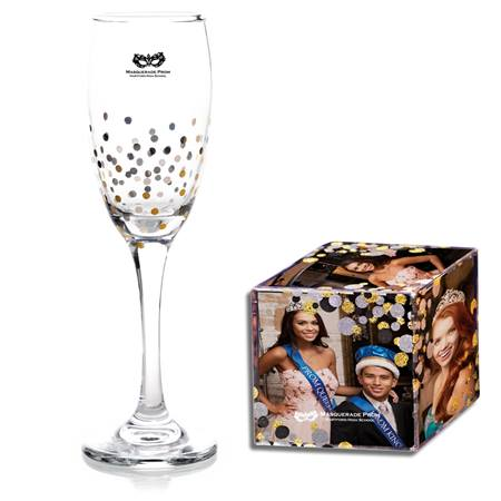 Dipped in Dots Flute and Glitter Bubbles Photo Cube Favor Set