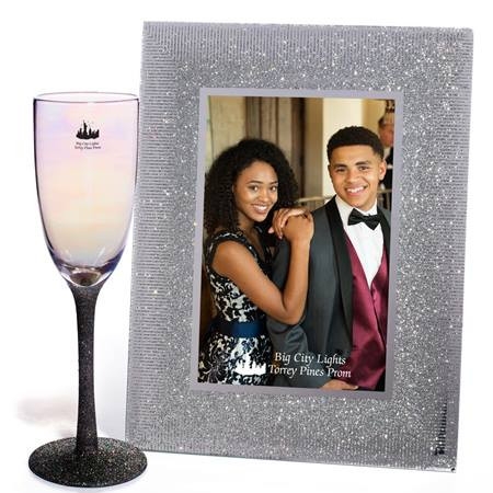 Iridescent Sparkle Flute and Silver Sparkle Glass Frame Set