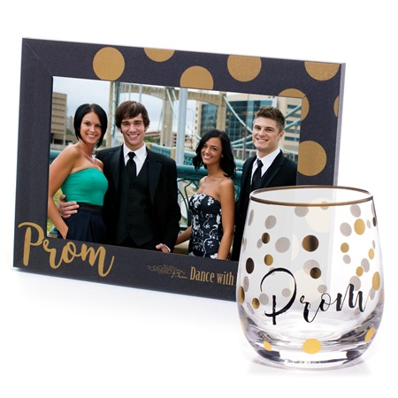 Rimmed in Gold Dots Tumbler and Golden Bubbles Frame Favor Set