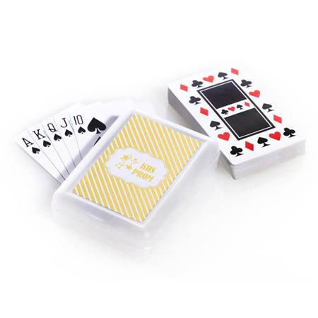 Playing Cards and Case With Metallic Foil Label - Gold Stripes